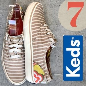 Keds Classic Low Top Abstract Floral Tan Stripe 7